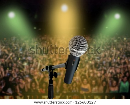 Live in concert-microphone - stock photo