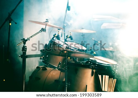 Live music background. Drum on stage - stock photo