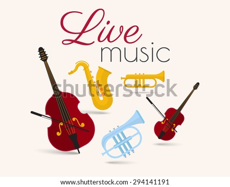 Live music festival poster with classical instruments on beige background - stock photo