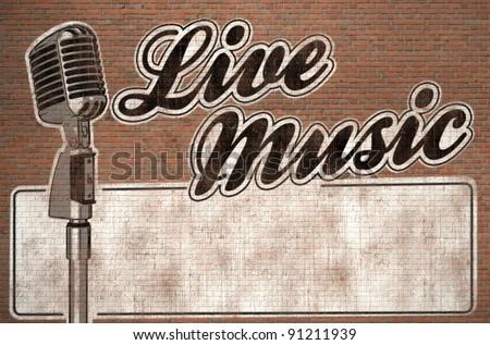live music graffiti on brick wall - stock photo