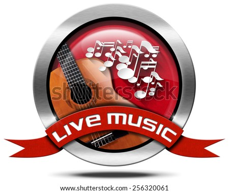 Live Music - Metal Icon. Metal icon or symbol with white musical notes and acoustic guitar, red ribbon with text live music. Isolated on white background - stock photo