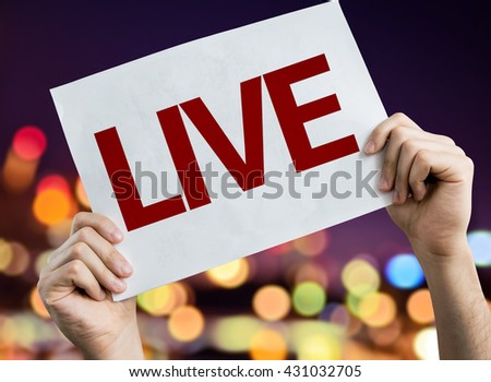 Live placard with night lights on background - stock photo