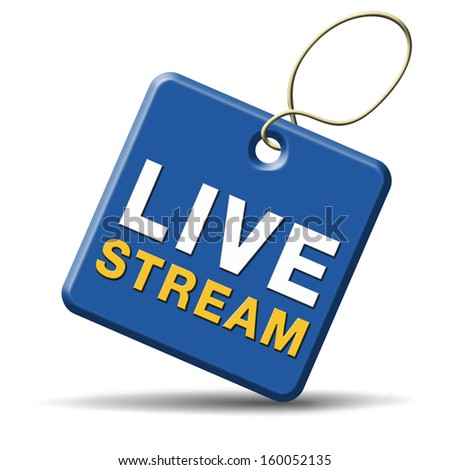 live stream tv music or video button icon or sign live on air broadcasting movie or radio program - stock photo