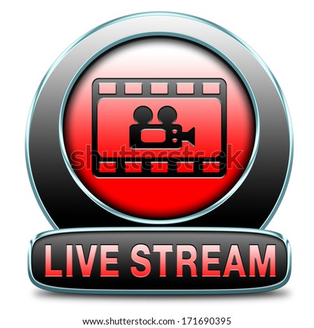 live stream video button icon or sign live on air broadcasting tv movie or watch television program - stock photo