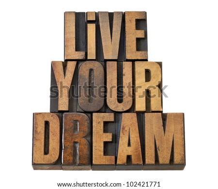 live your dream - motivation reminder - isolated text in vintage letterpress wood type - stock photo