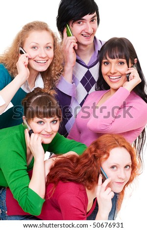 lively picture of happy people with cellphones. isolated on white background - stock photo