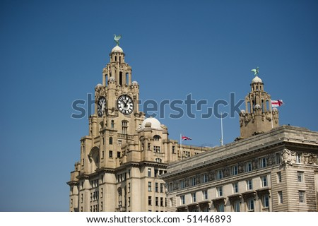 Liver building at the Pier Head Liverpool with copy space. - stock photo