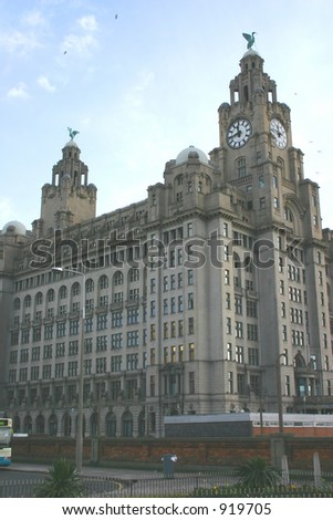 Liver Building in Liverpool England - stock photo