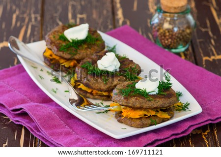Liver canape with carrots - stock photo