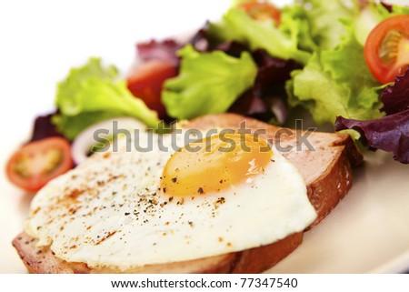 Liver loaf, meatloaf and fried egg on mixed salad - stock photo