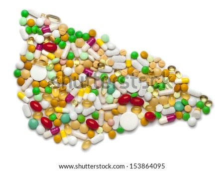 liver of pills and capsules isolated on white background  - stock photo