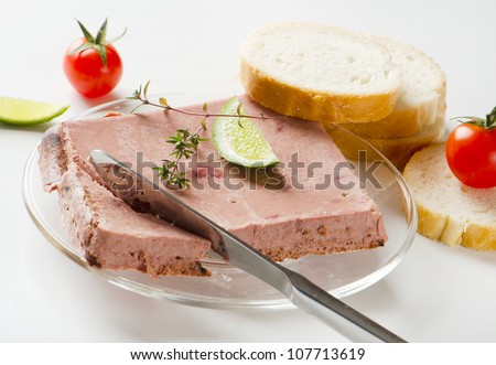 Liver pate with bread - stock photo