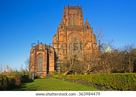 Liverpool Cathedral built on St James's Mount in Liverpool ranks as the fifth-largest cathedral in the world, Grade 1 listed building