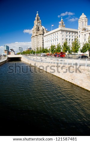 Liverpool city centre - Three Graces, buildings on Liverpool's waterfront, UK - stock photo