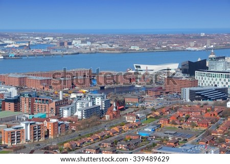 Liverpool - city in Merseyside county of North West England (UK). Aerial view with Albert Dock. - stock photo