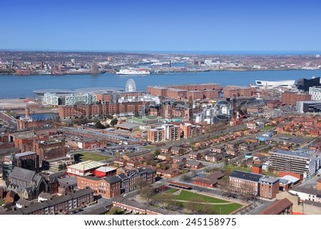 Liverpool - city in Merseyside county of North West England (UK). Aerial view with famous Albert Dock UNESCO World Heritage Site. - stock photo