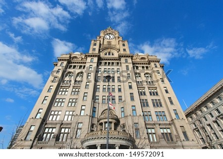 Liverpool - city in Merseyside county of North West England (UK). Pier Head district, part of UNESCO World Heritage Site. Royal Liver Building.