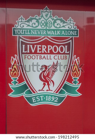 LIVERPOOL, ENGLAND - JUNE 3: Liverpool football club crest on Anfield Stadium on June 3, 2014 in Liverpool, England. Anfield stadium is home stadium of Liverpool FC. - stock photo
