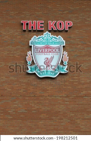 LIVERPOOL, ENGLAND - JUNE 3:The Kop and Liverpool football club crest on Anfield Stadium on June 3, 2014 in Liverpool, England. Anfield stadium is home stadium of Liverpool FC. - stock photo