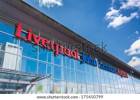 LIVERPOOL, ENGLAND - MARCH 30, 2013: Liverpool John Lennon Airport is an international airport serving the North West of England. Formerly known as Speke Airport. - stock photo