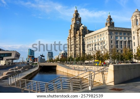 Liverpool Liver Building and seafront, England, UK. - stock photo