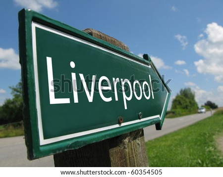 Liverpool road sign - stock photo