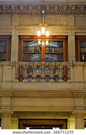 LIVERPOOL 16TH JANUARY 2016 The Magnificent Oak Room inside Liverpool Central Library - stock photo