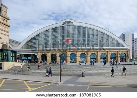 LIVERPOOL UK, APR 9, 2014: Liverpool Lime Street Railway Station is the main station in the city with direct links to London and other major cities. - stock photo