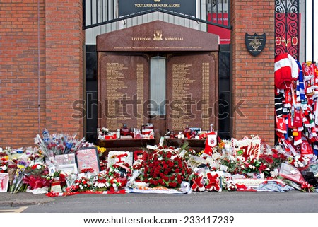 Liverpool, UK, April 15 2014 - Flowers laid to commemorate the 25th anniversary of the hillborough disaster that killed 96 spectators - stock photo