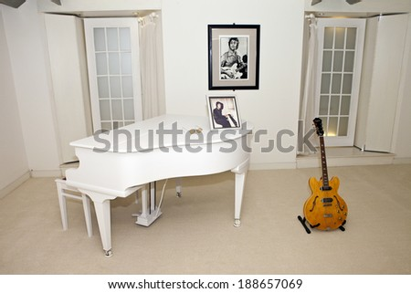 LIVERPOOL, UK - APRIL 17TH 2014:  A room in the Beatles Story Museum in Liverpool  dedicated to John Lennon on 17th April 2014. - stock photo