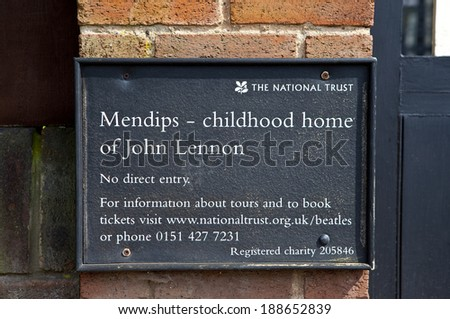 LIVERPOOL, UK - APRIL 16TH 2014: Sign outside the childhood home of John Lennon (251 Menlove Avenue) in Liverpool on 16th April 2014. - stock photo