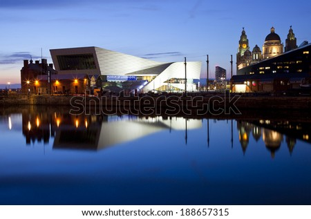 LIVERPOOL, UK - APRIL 16TH 2014: The beautiful view of Liverpool at dusk on 16th April 2014.  The view takes in sights including the Museum of Liverpool and the Royal Liver Building. - stock photo