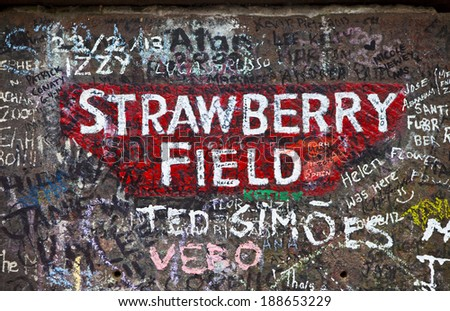 LIVERPOOL, UK - APRIL 16TH 2014:  The sign for Strawberry Field in Liverpool on 16th April 2014.  Strawberry Field was immortalised in 'The Beatles' song 'Strawberry Fields Forever'. - stock photo