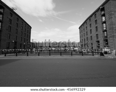 LIVERPOOL, UK - CIRCA JUNE 2016: The Albert Dock complex of dock buildings and warehouses in black and white