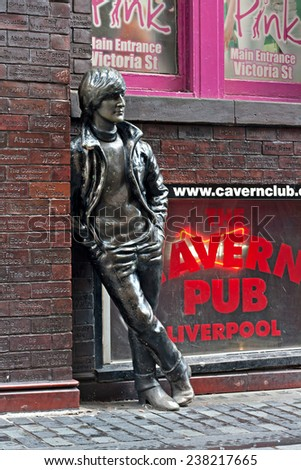 LIVERPOOL, UK, DECEMBER 7 2014. Statue of John Lennon by local artist Arthur Dooley in Mathew St, Liverpool. UK - stock photo