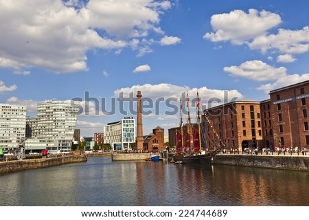 LIVERPOOL, UK - JULY 24, 2014: Cityscape of the Liverpool city centre which is the commercial, cultural, financial and historical heart of Liverpool, England, and its surrounding region. - stock photo