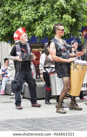Liverpool, UK - July 16, 2016: The Brazilica Festival is the largest celebration of Brazilian culture in the United Kingdom that has been held annually in Liverpool. Samba band - editorial