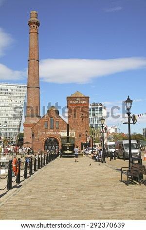 LIVERPOOL, UK - JUNE 30, 2015: Hartley Quay, Liverpool Docks. Liverpool is a city in Merseyside, England, on the eastern side of the Mersey Estuary - stock photo