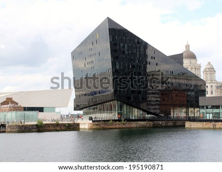 LIVERPOOL, UK, MAY 26TH 2014. Mann Island development on Liverpool's waterfront,  has attracted  controversy for potentially endangering the area's UNESCO World Heritage status with the modernity - stock photo