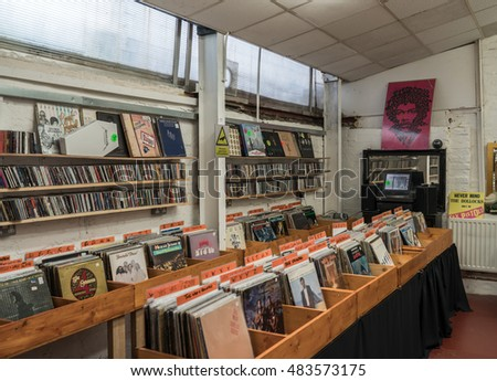 LIVERPOOL, UK - OCT 10: Various 60's.70's,80's vintage vinyl for sale in a second hand record store. Octoberl 10, 2015.