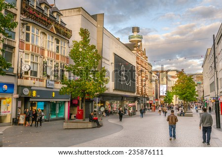 Liverpool, Uk - October 1, 2014: Lord Street crowded with Commuters and Shoppers at Sunset. Lord Street, in Liverpool's city centre, is one of the main streets in the city's main shopping district. - stock photo
