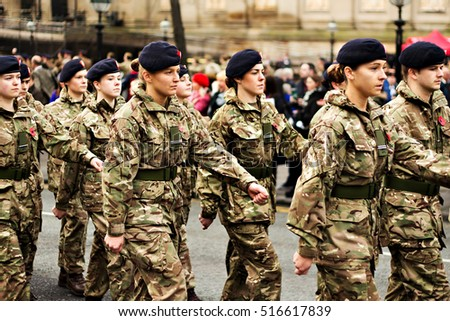 LIVERPOOL UK, 13th NOVEMBER 2016.Liverpool University Officer Training Corps taking part in the Remembrance Day Parade in Liverpool City Centre.