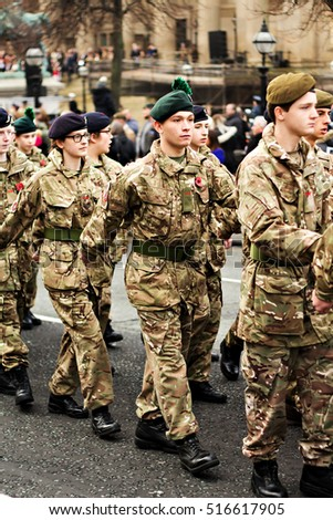 LIVERPOOL UK, 13th NOVEMBER 2016. Young Army Cadets taking part in the Remembrance Day Parade in Liverpool City Centre.