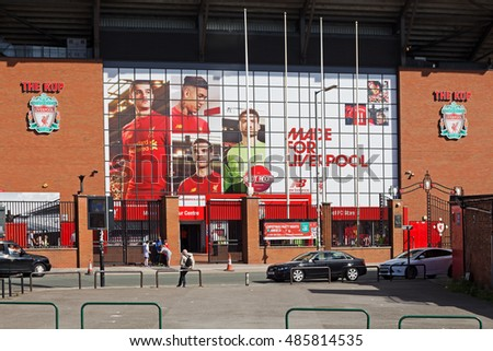 LIVERPOOL UK, 17TH SEPTEMBER 2016. Liverpool Football Club's new giant mural for the 2016/17 season at the Kop end of the stadium