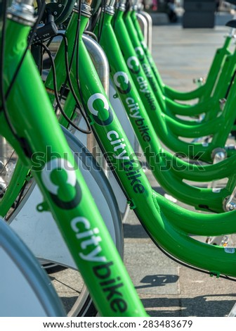LIVERPOOL, UNITED KINGDOM - April 4: bicycles of the City Bike public cycle hire scheme on April 4th, 2015 in Liverpool, United Kingdom. Liverpool's City Bike scheme launched in May 2014 - stock photo