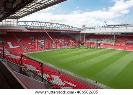 Liverpool, United Kingdom - July 16th 2015: A view of Anfield, home to Liverpool Football Club with the new stand being erected in the foreground