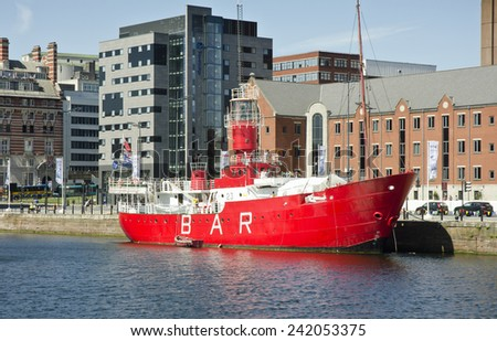 LIVERPOOL, UNITED KINGDOM - JUNE 23: architecture at the Liverpool Waterfront on June 23, 2014 in Liverpool, United Kingdom. Liverpool the 7th largest city in the UK (source: City Mayors).  - stock photo
