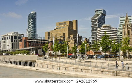 LIVERPOOL, UNITED KINGDOM - JUNE 23: architecture at the Liverpool Waterfront on June 23, 2014 in Liverpool, United Kingdom. Liverpool the 7th largest city in the UK (source: City Mayors).