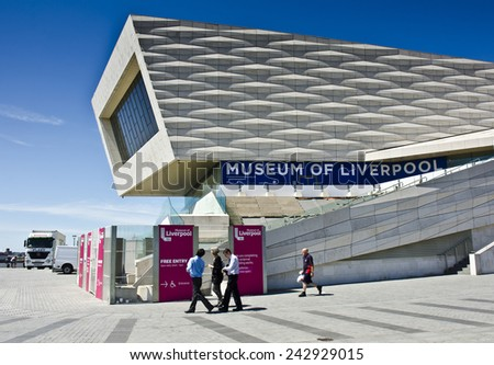 LIVERPOOL, UNITED KINGDOM - JUNE 23: exterior of the Museum of Liverpool building on June 23, 2014 in Liverpool, United Kingdom. The Museum of Liverpool documents the city's social & cultural history. - stock photo