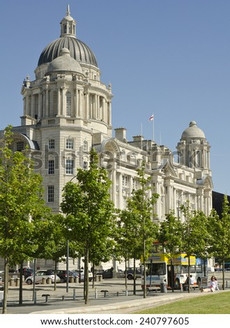 "LIVERPOOL, UNITED KINGDOM - JUNE 23: exterior of the Port of Liverpool Building on June 23, 2014 in Livepool, United Kingdom. The Port of Liverpool Building is one of ""Three Graces"" at the waterfront."